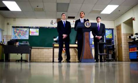 President Barack Obama delivers remarks on education and budget priorities, while Jack Lew, Director of the United States Office of Management and Budget, right, and Arne Duncan, Secretary of Education, look on at the Parkville Middle School and Center of Technology, in Baltimore on February 14, 2011. (Photo: Drew Angerer / The New York Times)