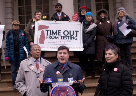 Council Member Weprin During Press Conference on High-Stakes Testing--Credit to WIlliam Alatriste New York City Council